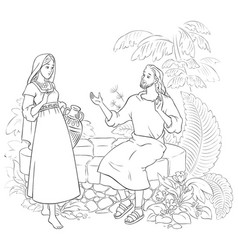 samaritan woman at well coloring page vector image