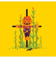 Scarecrow for halloween in a flat style vector