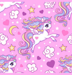 seamless pattern with white unicorns stars vector image