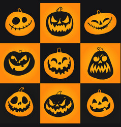 set halloween pumpkins icons vector image