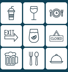 Set of 9 meal icons includes eating house vector