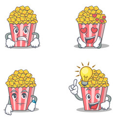 set of popcorn character with angry love waiting vector image