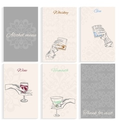 Set pages alcohol menu hand holding glass vector image