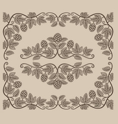 set vintage design elements hop branches vector image