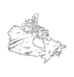 sketch of a map of canada vector image
