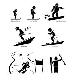 Skiers ski skiing people age category division vector