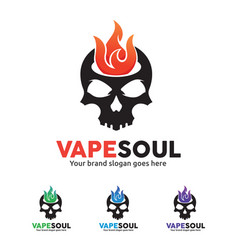 Skull fire logo for e-cigarette business vector