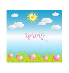 Spring season on blue background vector