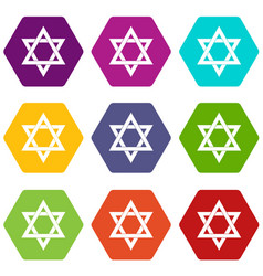 star of david icon set color hexahedron vector image