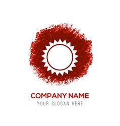 Sun icon - red watercolor circle splash vector