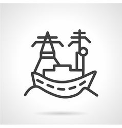Town sea port line icon vector