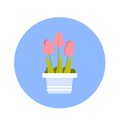 Tulips bouqet icon on blue round background vector