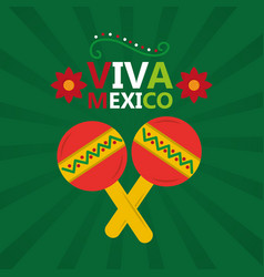 viva mexico music maracas celebration poster vector image