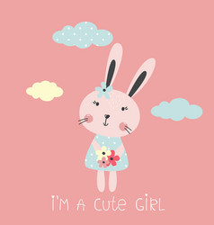 with cute rabbit vector image