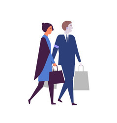 woman and robotized assistant with shopping bags vector image
