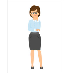 cartoon smiling businesswoman thinks vector image vector image