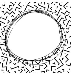 hand drawn round frame in memphis style fashion vector image vector image