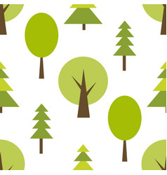 Pattern with green forest on white background vector