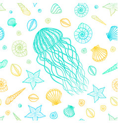 seamless pattern with jellyfish and shells in line vector image