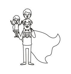 Silhouette cartoon full body super dad hero with vector