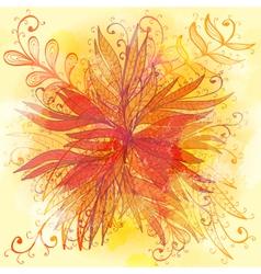 Grunge orange floral background vector image