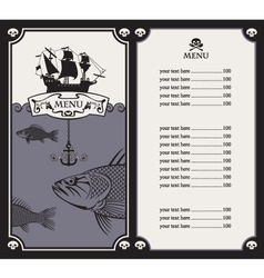 menu with sailboat vector image