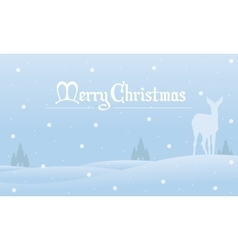Merry Christmas winter landscape of silhouettes vector image vector image