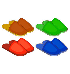 set of colorful house slippers flat design vector image vector image
