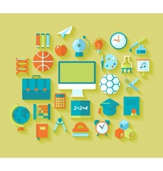 Set of flat education and school icons for design vector image