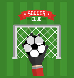 soccer club hand goalkeeper ball and red vector image