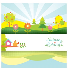 Spring Season Object Icons Banner and Background vector image