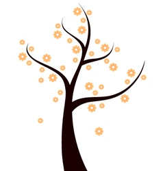 Spring Tree with orange flowers isolated on white vector image vector image