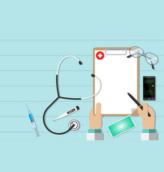 top view workplace of a doctor with equipment vector image vector image
