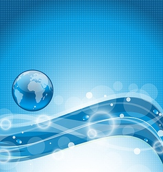 Abstract wavy water background with earth symbol vector image vector image