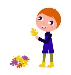 cute little autumn boy holding leaf vector image vector image