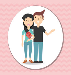 happy couple lover with present gift vector image