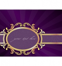 horizontal label with gold filigree vector image