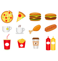 junk food colorful logo collection isolated on vector image vector image
