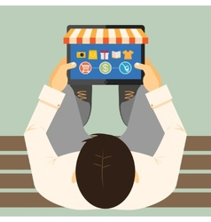Man doing inline shopping vector image vector image