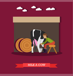 milker milking cow in flat vector image