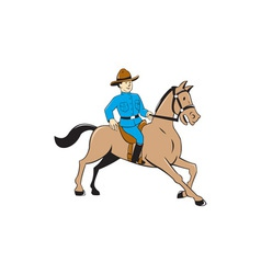 Mounted Police Officer Riding Horse Cartoon vector image vector image