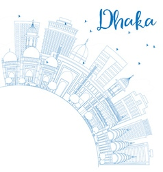 Outline Dhaka Skyline with Blue Buildings vector image vector image