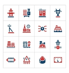 Set color icons of power industry vector image vector image