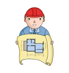 Architectz with technical drawing icon in cartoon vector image