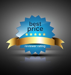 best price label with golden ribbon vector image
