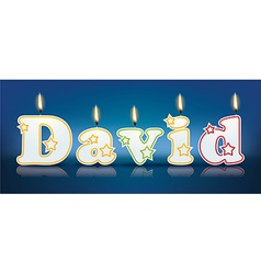 David written with burning candles vector