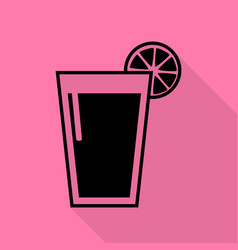 glass of juice icons black icon with flat style vector image vector image