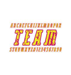 Italic narrow serif font with rust texture vector