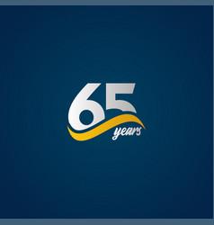 65 years anniversary celebration elegant white vector