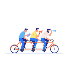 a team four business people riding a bike vector image
